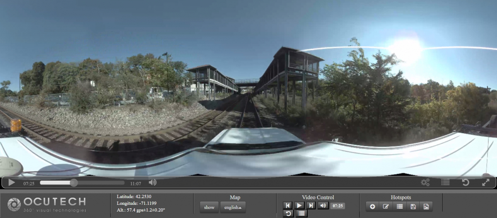 railroad panoramic imaging uses 360 degree camera with GPS and sometimes LiDAR to perform track surveys and condition assessment. Relaity IMT generates 3d..